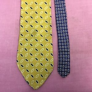 Tommy Hilfiger Mens Yellow Blue Tie